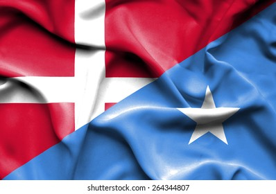 Waving flag of Somalia and Denmark