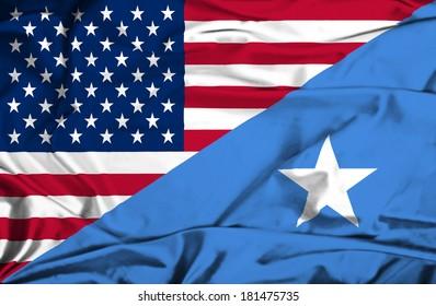 Waving flag of Somalia and USA