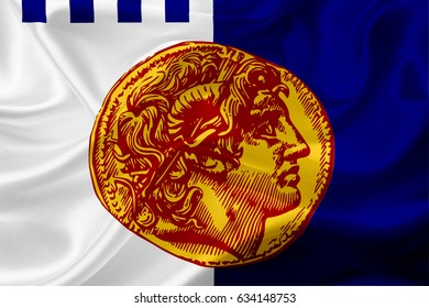 Waving flag of Thessaloniki, Greece with fabric texture