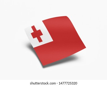 Waving Flag of Tonga, Flag of Tonga in White Background.