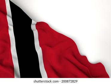 Waving flag of Trinidad and Tobago., caribe, corner of white background