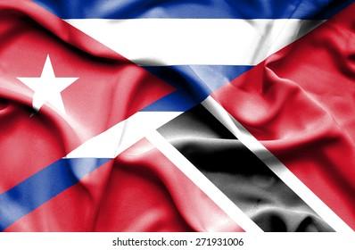 Waving flag of Trinidad and Tobago and Cuba