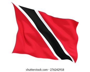 Waving flag of trinidad and tobago isolated on white