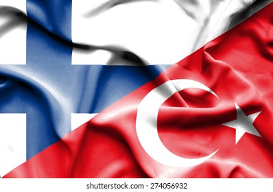 Waving flag of Turkey and Finland