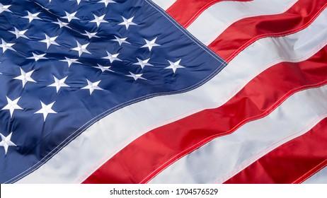 Waving flag of United States of America, close up