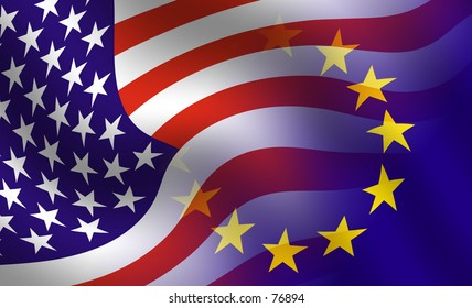 Waving flag of the usa and europe blended together