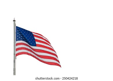 The waving flag of the USA isolated on white