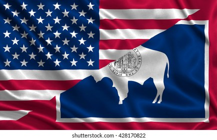 Waving flag of USA and Wyoming state (USA)