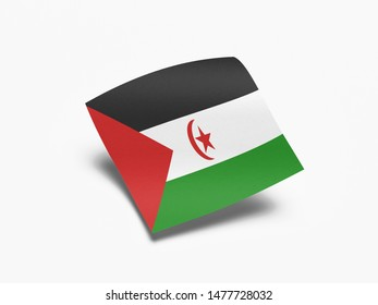 Waving Flag of Western Sahara, Flag of Western Sahara in White Background.