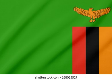 Waving flag of the Zambia