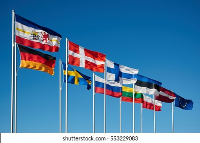 waving flags of baltic