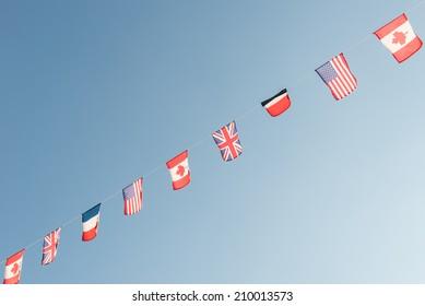 Waving flags WW II, Allied Landing, Normandy, France