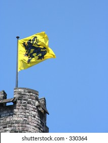 A waving flemish lion, the flag and symbol of Flanders (the northern, Dutch speaking part of Belgium)