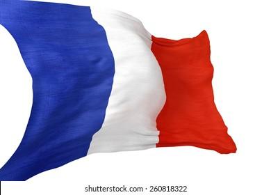 Waving France National Flag Isolated on White