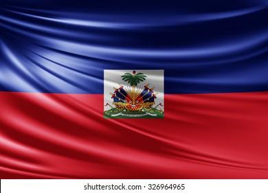 Waving Haiti flag of silk