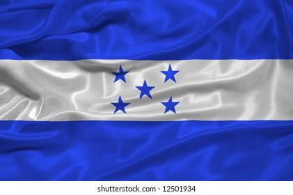 waving Honduran Flag close up