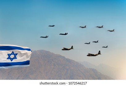 Waving Israeli Flag and Military Aircraft Show or Parade at Independence Day of Israel