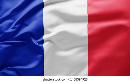 Waving national flag of France