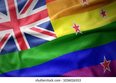 waving new zealand colorful rainbow gay pride flag banner