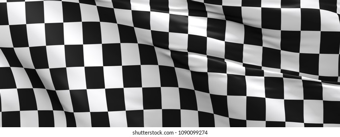 Waving race flag using as background, 3d rendering panorama
