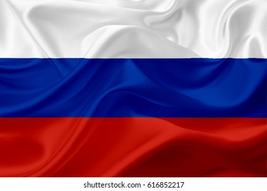 Waving Russia Flag, with a fabric texture