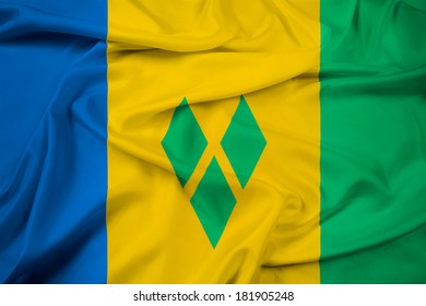 Waving Saint Vincent and The Grenadines Flag