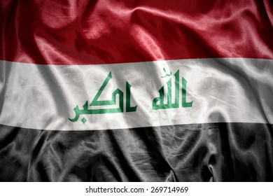 waving and shining iraqi flag