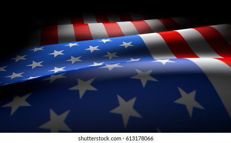 Waving star and striped American flag