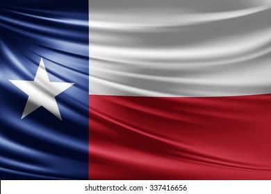 Waving texas flag of silk