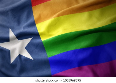 waving texas state colorful rainbow gay pride flag banner