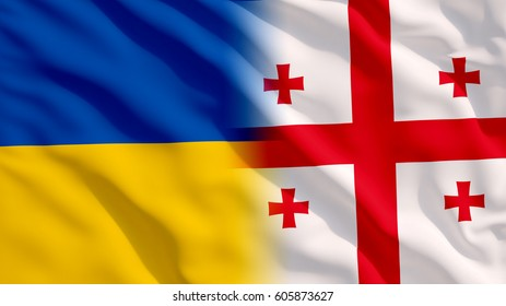 Waving Ukraine and Georgia Flag