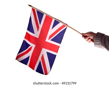 Waving the Union Jack flag against a white background