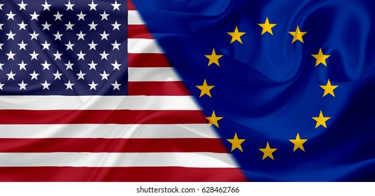 Waving USA and European Union flag together, with fabric texture