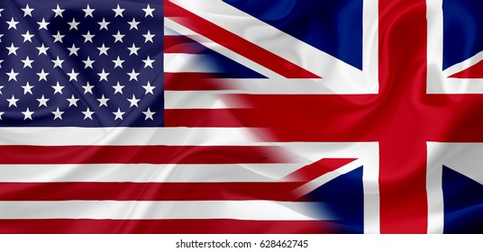 Waving USA and Great Britain flag together, with fabric texture