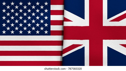 Waving USA and Great Britain Flag