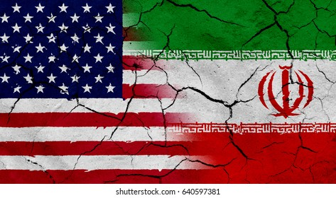 Waving USA and Iran flag together, with dried soil texture