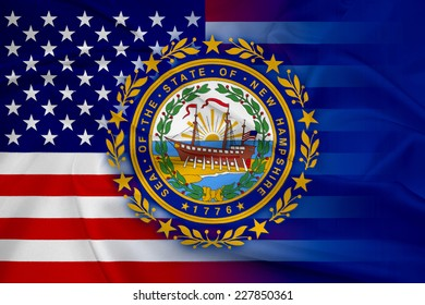 Waving USA and New Hampshire State Flag