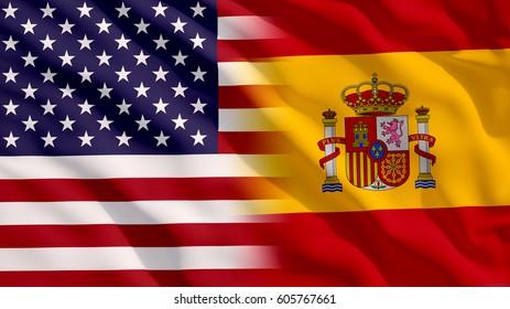Waving USA and Spain Flag