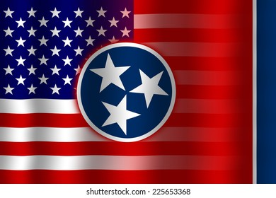 Waving USA and Tennessee State Flag