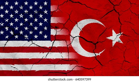 Waving USA and Turkey flag together, with dried soil texture