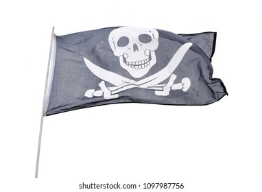 Waving in the wind pirate flag isolated on white