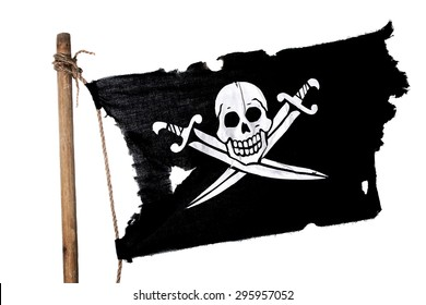 Waving in the wind pirate flag on the mast. Isolated on white