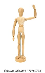 Waving wooden artists Mannequin over white