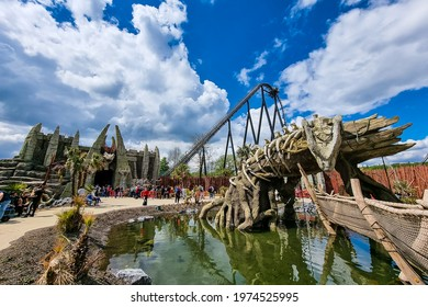 Wavre, Belgium - May 14, 2021 : People enjoying their day at Walibi Belgium. This is the new game, Kondaa, highest and fastest coaster in Benelux.