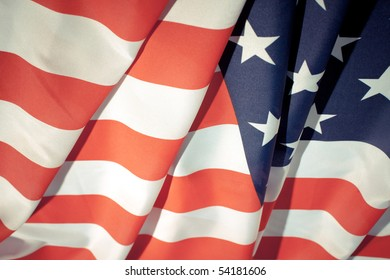 Wavy American flag.  4th july concept background