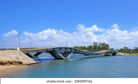 Wavy bridge, created by the engineer Leonel Viera, Punta Del Este, Maldonado, Uruguay, South America