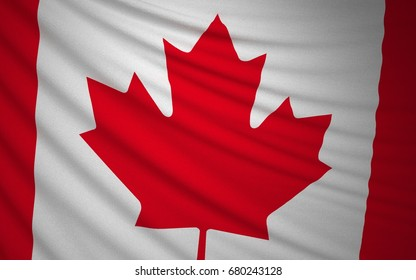 Wavy Canada Flag, Country Flag, 3D Rendering