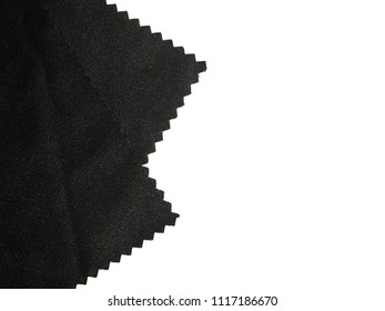 Wavy edge black fabric isolated on white background.