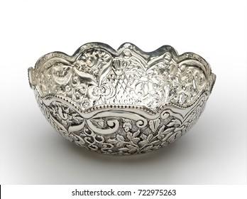 Wavy engraved round shaped bowl isolated on white background
