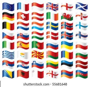 Wavy flags set - Europe. 48 flags. JPEG version.